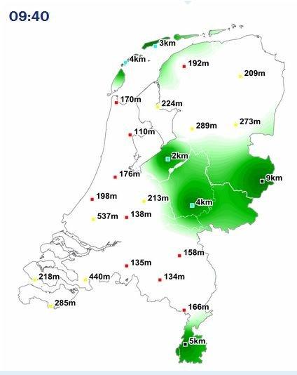 Om 09:40 lag een groot gedeelte van Nederland onder de mist.