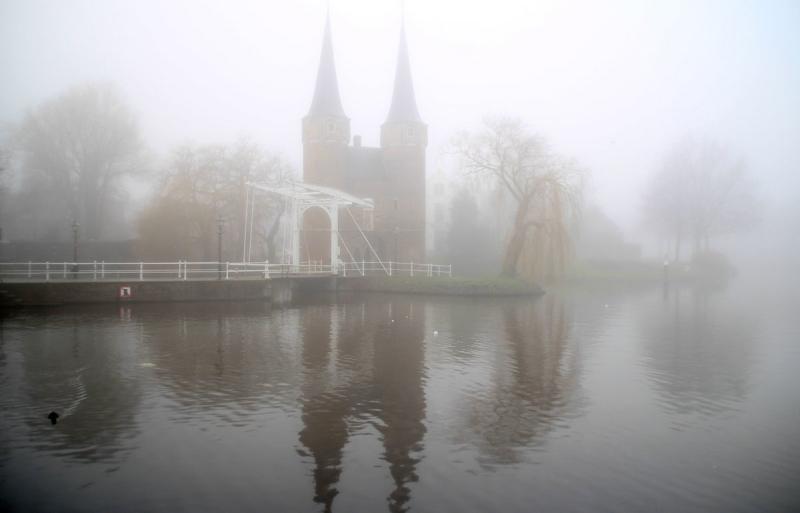 Op veel plaatsen was het gisteren grijs en bewolkt met nevel en mist. Gieny van Asten maakte deze fraaie grijze foto.