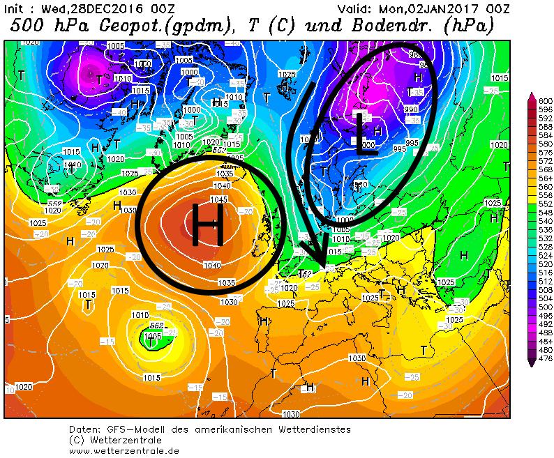 Zondag komt een polaire glijbaan op gang met bijzonder koude lucht die uitstroomt naar Europa en de Alpen. Op zondag blijft het wel nog de hele dag droog en zonnig. Bron; wetterzentrale.de