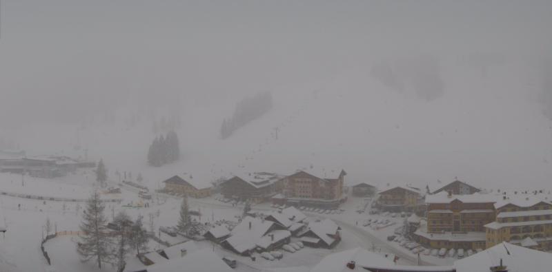 Ook sneeuwval deze ochtend in Zauchensee. Bron: roundshot.com