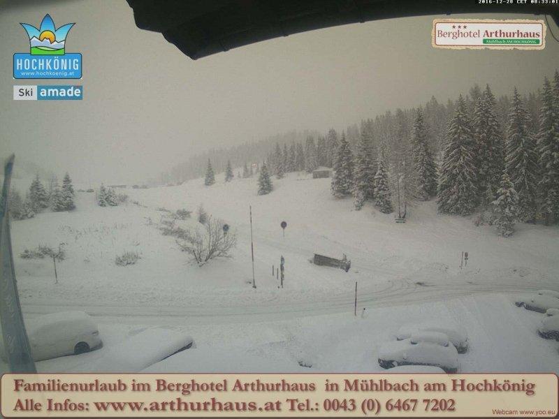 Veel sneeuw ook in Mühlbach vandaag. Bron: bergfex.com