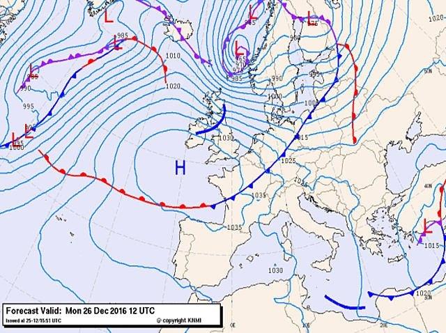De weerkaart van vandaag. Bron: KNMI/Wetteronline