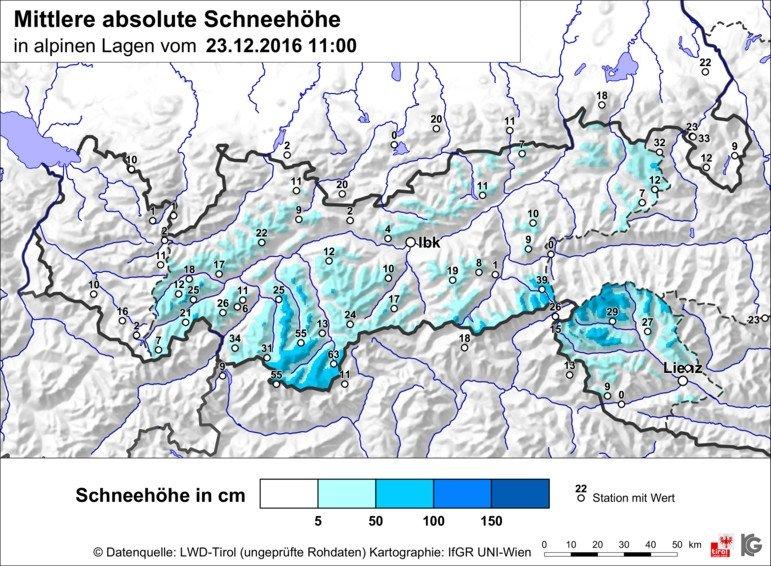 Sneeuw kunnen we nog wel gebruiken in Tirol. Dit zijn de gemiddelde sneeuwhoogtes in de ochtend van vrijdag 23 december. Vooral in de zuidelijke helft ligt er op de hoge toppen tussen de 30-65 cm sneeuw. Andere toppen moeten het met 5-30 cm doen. Bron: Lawinenwarndienst Tirol