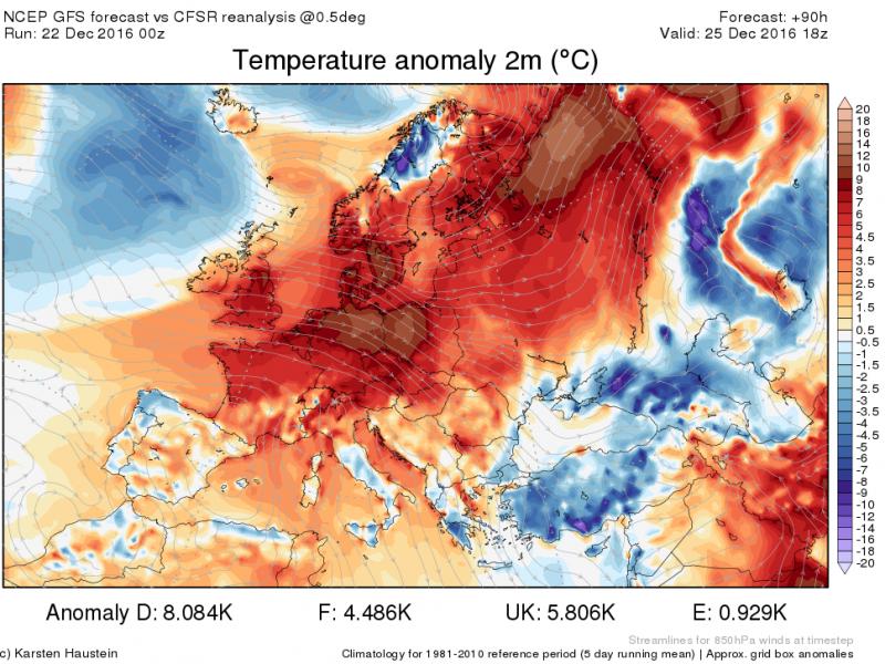 Zondag zijn de temperaturen in grote delen van Europa een pak hoger dan de normalen voor de tijd van het jaar. Bron: http://www.karstenhaustein.com/