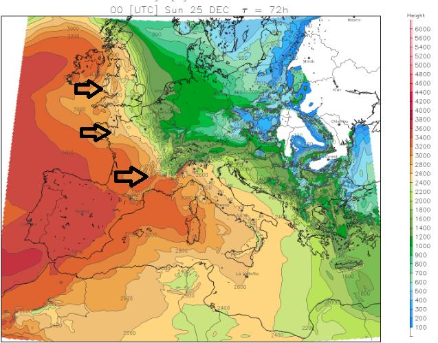 Op kerstdag rukt zeer zachte lucht op vanaf het westen naar Europa. Het wordt dan overal flink zachter met een stijgende nul graden grens. Bron: meteoliguria.it