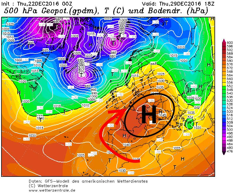 Later in de week wordt het weer zachter en droog wanneer nieuwe hoe druk zich ontwikkelt boven Europa en de wind naar het zuidwesten draait. Bron: wetterzentrale.de
