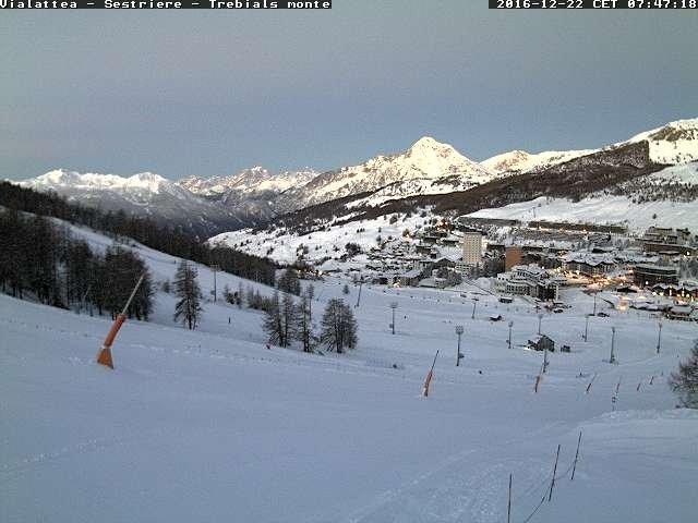 Ook in Sestrière, topcondities met 40 cm verse sneeuw in het dal. Bron: bergfex webcam Sestrière