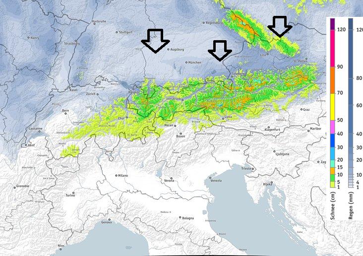 Tijdens het kerstweekend kan er in de oostelijke Alpen tot 20 cm sneeuw vallen. De sneeuwgrens zal schommelen tussen 1500 en 2000 meter, lokaal tijdelijk wat lager. Bron: bergfex.com