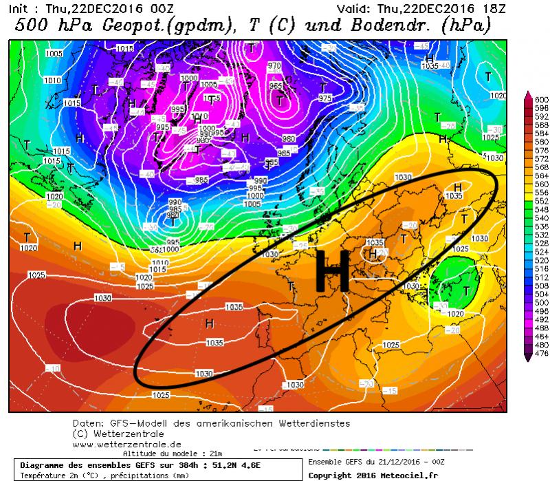 Hoge druk bevindt zich uitgestrekt over grote delen van Europa en zorgt in de Alpen voor zonnig weer. Bron: wetterzentrale.de