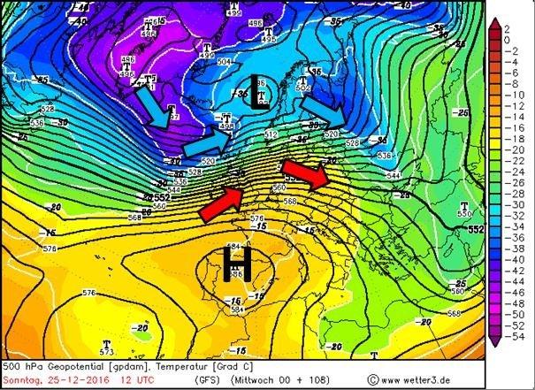 Eerste Kerstdag ligt het Sauerland onder invloed van een westelijke stroming en om neerslaggebieden die om het lagedrukgebied liggen. De zwarte lijnen (luchtdruk) liggen dicht bij elkaar: er waait veel wind. Vanuit het westen komt er warmere lucht binnen. Nieuwe koudere lucht ligt wel klaar ten westen van IJsland. Bron: Wetter3