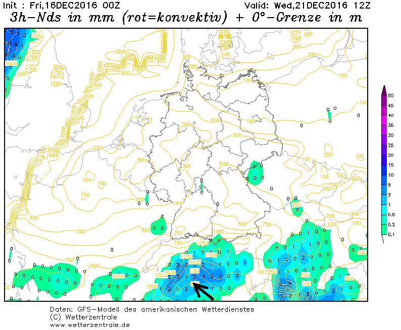 Woensdag neemt de kans op sneeuw serieus toe aan de zuidkant van de Alpen. Bron: wetterzentrale.de