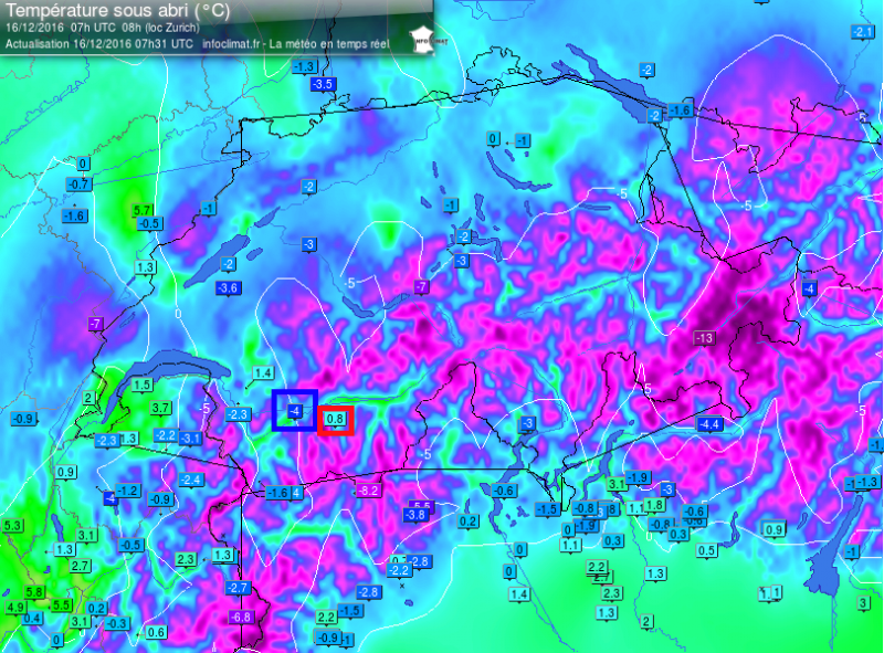 De inversielaag is duidelijk te merken op de temperatuurkaart. In Sion in Wallis (450 meter) is het kouder dan in Grimentz in Val d'Anniviers (1600 meter) Bron: meteociel.fr