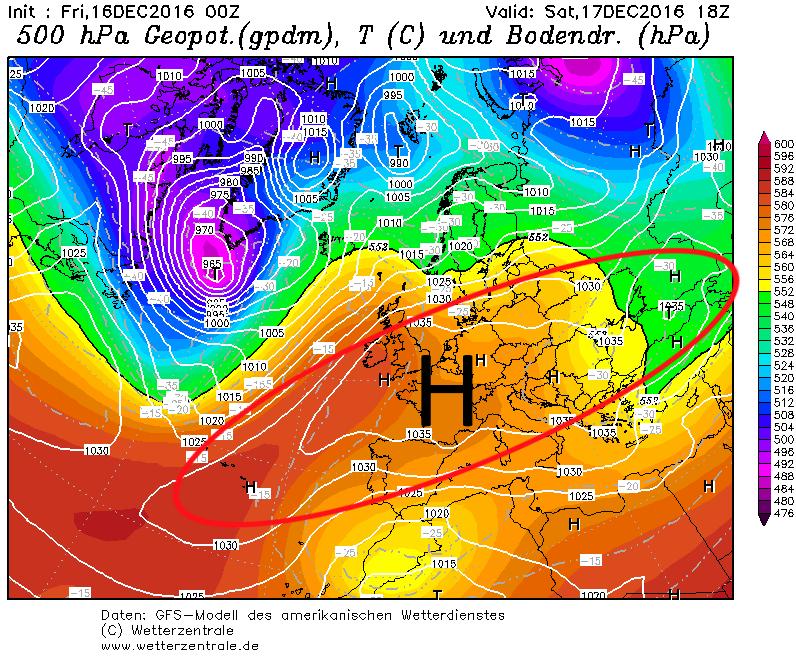 De hoge druk strekt zich morgen nog wat meer op. Grote delen van Europa blijven in rustig vaarwater met veel zon. Bron: wetterzentrale.de