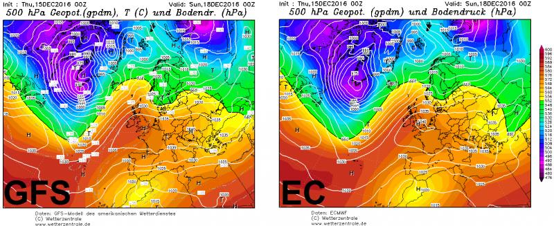 De twee belangrijkste weermodellen zijn het zaterdag nog volledig eens met elkaar. Een zonaal hogedrukgebied zorgt voor droog en rustig weer in de Alpen. Bemerk wel het hoogtelaag boven Scandinavië dat wel eens belangrijk zou kunnen worden. Bron: wetterzentrale.de