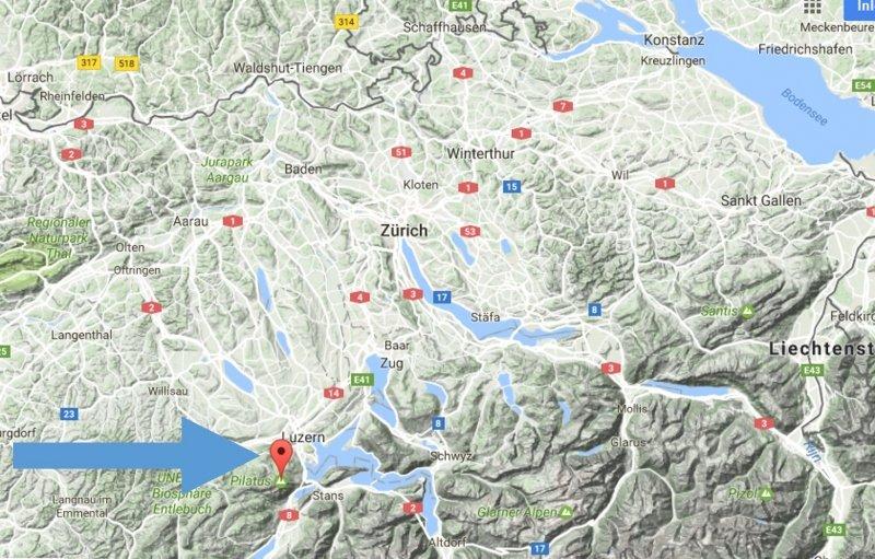 De ligging van Luzern en Pilatus in Zwitserland, langs de noordkant van de Alpen.
