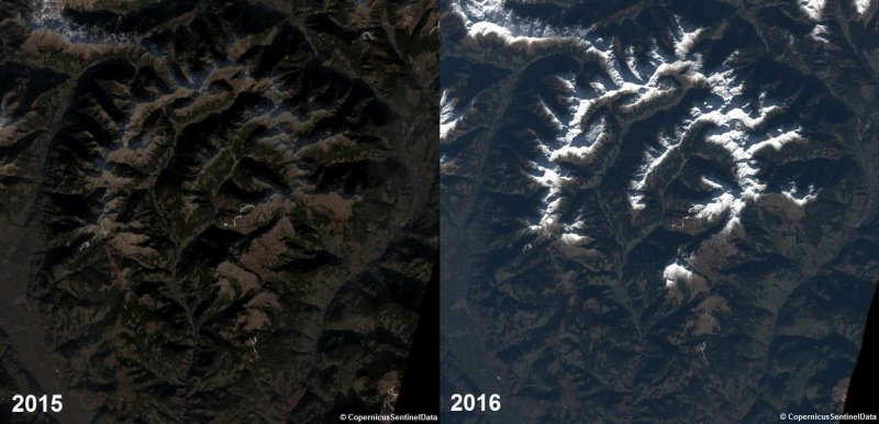 In de Sarntaler Alpen in Italië lag in het begin van december 2016 meer sneeuw dan in 2015. Bron: Twitter@DieterPeterlin.