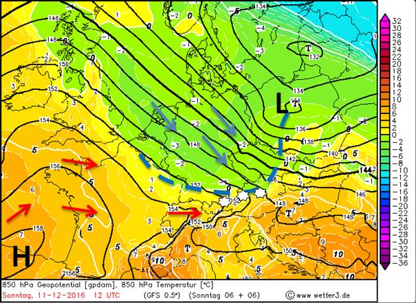 De weerkaart voor zondagmiddag met luchtdruk en temperatuur op 850 hPa. Een lagedrukgebied boven Polen en bijbehorend koufront gaan het weerbeeld bepalen de komende dagen. Koudere lucht vanuit het noordoosten stroomt achter dit koufront weer over Tirol. De hogedruk weet zich echter weer te herstellen en vanuit het zuidwesten kan er later in de week weer wat warmere lucht binnenstromen. Bron: Wetter3.