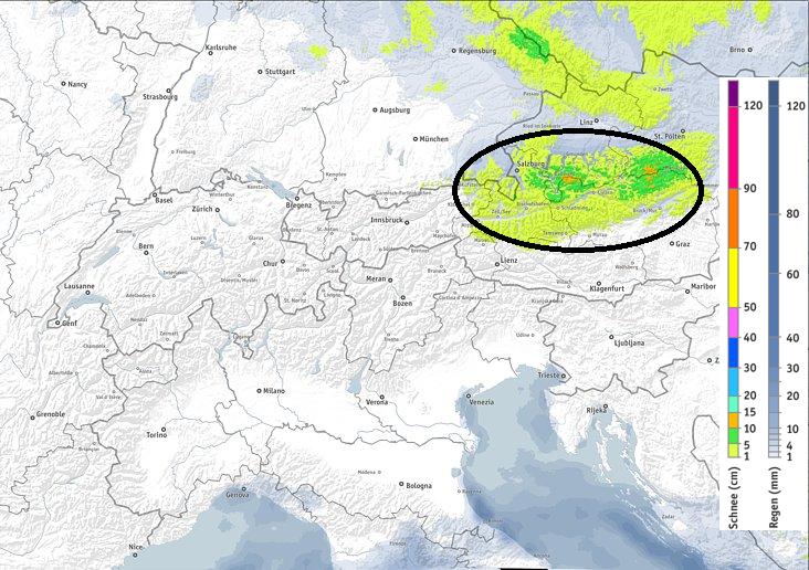 In de oostelijke Alpen kan er zondag en tijdens de nacht naar maandag wat sneeuw vallen boven pakweg 1000 meter. bron: bergfex.com