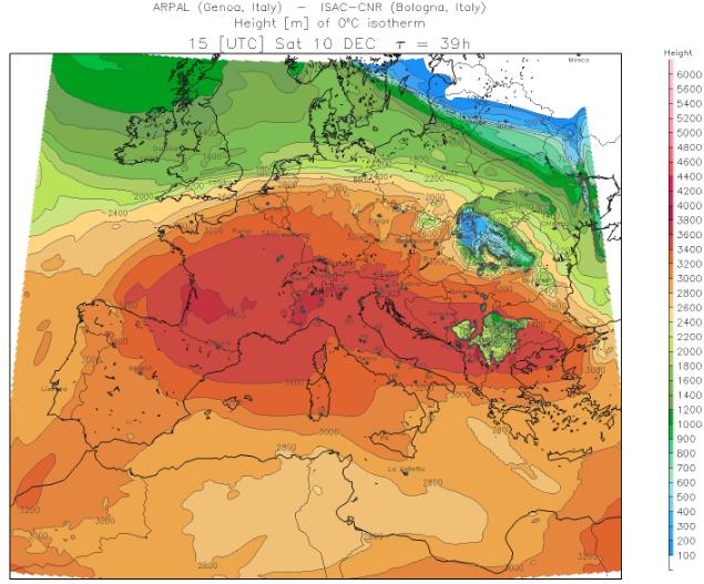 Een bel zachte lucht bevindt zich morgen boven Centraal-Zuid Europa en zorgt in de Alpen voor een hoge nulgradengrens. Bron: meteoliguria.it