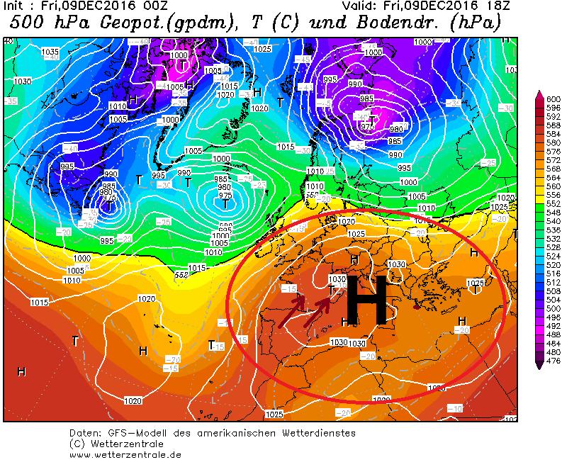 Een sterk hogedrukgebied ligt nog steeds boven Centraal- en Zuid-Europa. Elke vorm van neerslag wordt hierdoor omgeleid naar het noorden en de Alpen krijgen strakblauwe luchten bij zachte temperaturen. Bron: wetterzentrale.de
