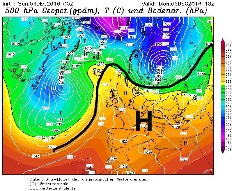 Een hogedrukblokkade boven grote delen van Europa zorgt voor langdurig zonnig en droog weer. Bron: wetterzentrale.de