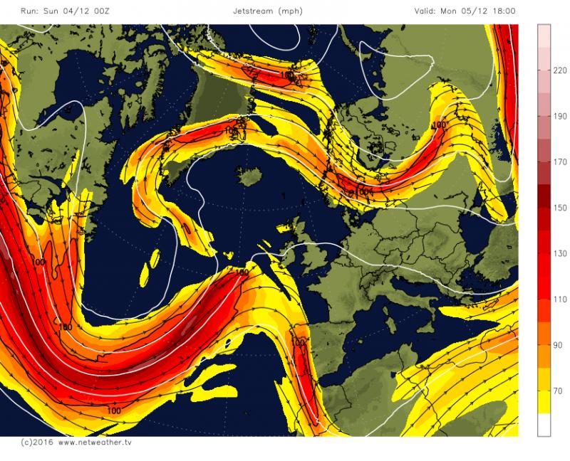 De straalstroom is dezer dagen sterk gesplitst boven Europa en wordt afgebogen naar het noorden en zuiden. Slecht weer wordt omgeleid rond de Alpen. http://www.netweather.tv/
