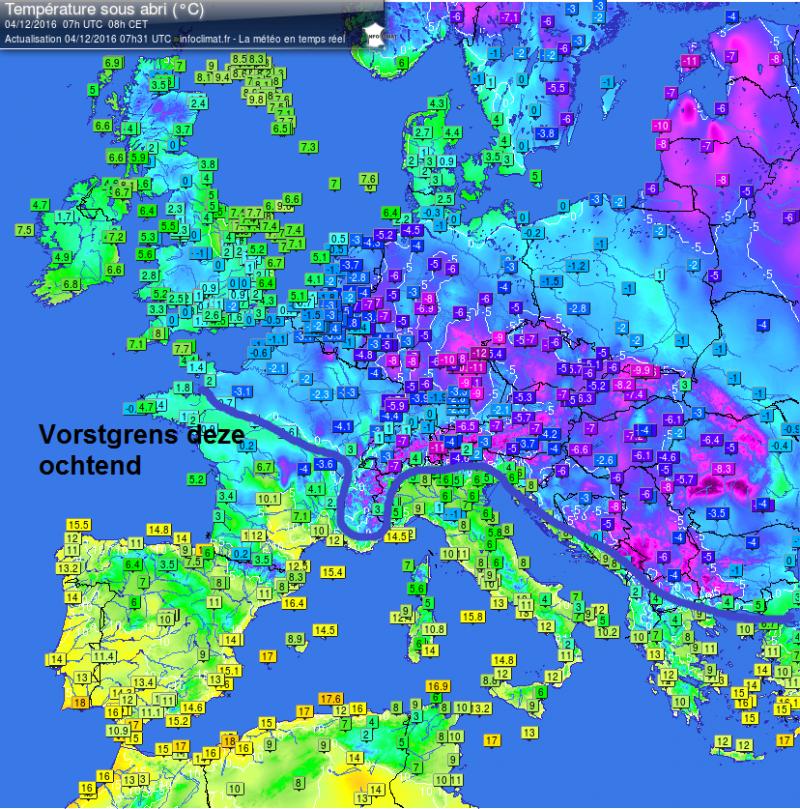 Het is koud deze ochtend met ten noorden van de Alpen overal vorst in het laagland. Bron: http://members.home.nl/tianwa/noni/journaal/temperaturen.html
