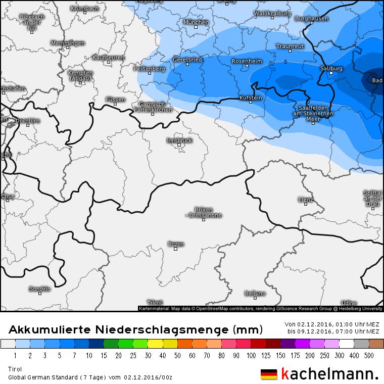 Accumulatie van neerslag tot en met vrijdag 7:00. De neerslag in het uiterste noordoosten van Tirol komt door de neerslag die vrijdag 2 december valt. Bron: Kachelmannwetter