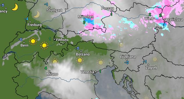 We zien deze ochtend wat lichte sneeuw op de radar in de oostelijke Alpen. Bron: wetteronline.de