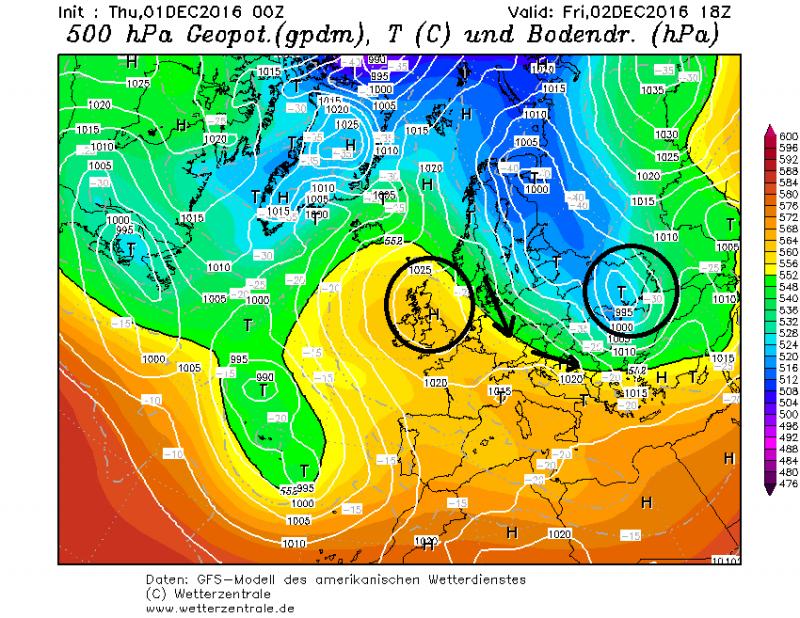Ook vrijdag worden de Alpen gedomineerd door hoge druk. Aangezien de kern nu wel iets westelijker ligt kan er in de loop van de dag koudere lucht vanaf het noorden binnenstromen. Bovendien zorgt een zwak koufront in het uiterste van de oostelijke Alpen mogelijk voor wat lichte sneeuw. Elders blijft het de hele dag zonnig. Bron: wetterzentrale.de