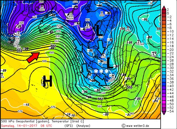 Weerkaart voor zaterdag. Een lagedrukgebied boven Oost Europa brengt een neerslaggebied richting Tirol. Samen met een noordwestelijke stroming kan er dankzij de Nordstau vooral in de westelijke en noordelijke helft veel sneeuw vallen. Het hogedrukgebied boven de Atlantische Oceaan gaat in de loop van de week belangrijker worden. Bron: Wetter3