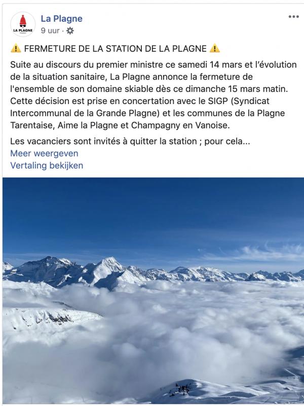 Franse skigebieden sluiten per direct hun deuren